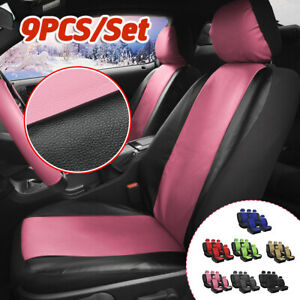 9pcs Universal Car Seat Covers Full Set Washable Cushioned Pu Leather Cover Pink