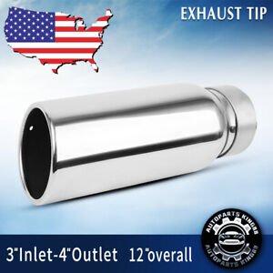 Diesel Exhaust Tip 3 Inlet 4 Outlet 12 Inch Long Tail Pipe Stainless Steel