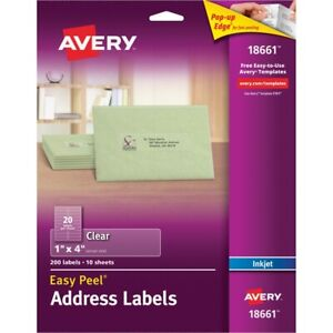 Avery Easy Peel Mailing Labels 1x4 Clear 200pack