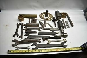 Vintage Lot Of Metal Wood Lathe Parts Mandrels Wrenches Brass Bits Tips Usa