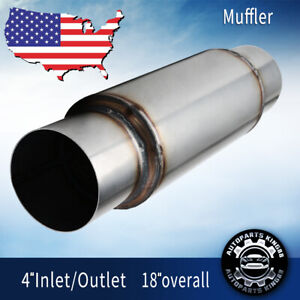 4 Inlet Outlet High Performance Muffler Exhaust Glass Pack Resonator 18 Length