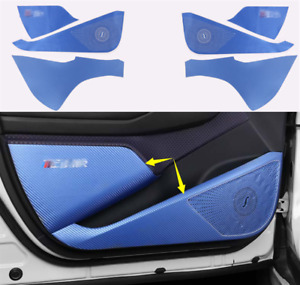 Blue Carbon Fiber Car Door Anti Kick Pad Protect Cover For Toyota C hr Chr 18 19