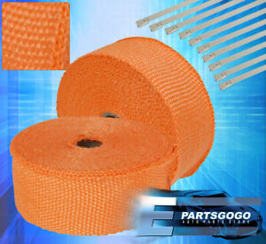 360 30ft High Temp Heat Wrap Roll Cover Insulation Reduction Piping Set Orange