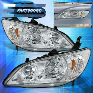 For 04 05 Honda Civic Front Driving Clear Amber Reflector Driving Headlight Lamp