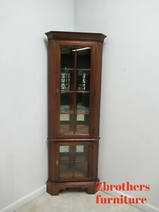 Harden Furniture Solid Cherry Chippendale Corner Cabinet Curio Hutch Display