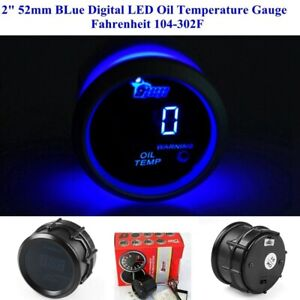 2 52mm Blue Digital Led Oil Temperature Gauge With Sensor Fahrenheit 104 302f