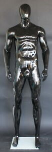 New 6 Ft 4 In Male Abstract Head Mannequin Athletic Body Glossy Black Sfm52e hb