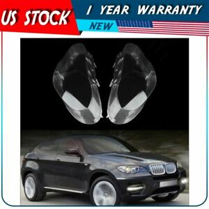 Pair Front Left Right Headlamp Cover Headlight Lens For 2008 2014 Bmw X6 E71