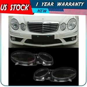 Headlight Lens Cover Left Right For Benz W211 E350 300 200 02 08 Replacement