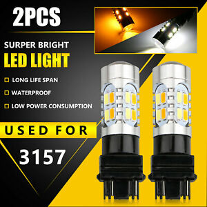 2x Error Free 3157 Led Drl White Amber Switchback Turn Signal Parking Light Bulb