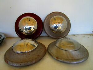 Set Of 4 Vintage 1936 39 Ford V8 Logo Dog Dish Hubcap Wheel Covers