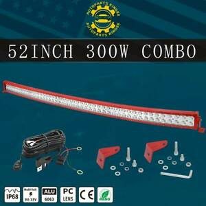 Offroad 52inch Led Work Light Bar Curved Flood Spot Combo Truck Roof Driving Red