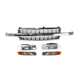 Grille Assembly Headlight For 1999 2002 Chevrolet Silverado 1500 Kit