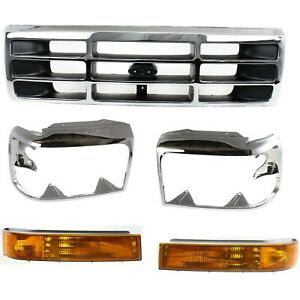 Turn Signal Light Headlight Door Grille Assembly For 1992 1996 Ford F 150 Kit