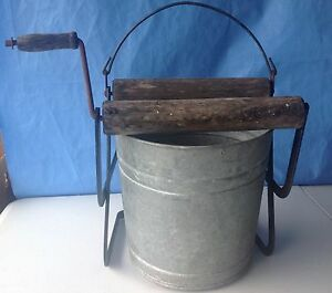 Mop Bucket Hand Wringer Wood Roller Galvanized Steel Pail Industrial Janitor Old