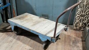 Vintage Blue Nutting Industrial Factory Freight Push Cart Salvage 4 X2 Can Ship