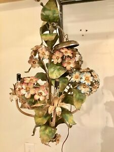 1950s Tole Italy Chandelier Hydrangea Floral Chandelier