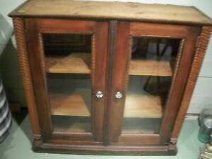 Vintage Ornate Bookcase Cabinet With Glass Doors