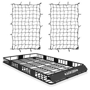 Black 84 Roof Rack Cargo Extension Car Top Luggage Holder Basket W 2 Cargo Nets