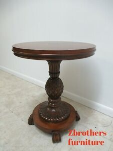 Ethan Allen Round Carved Pineapple Pedestal Base Sophia Accent Table