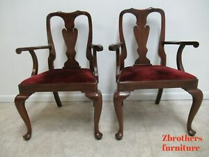 2 Henkel Harris Mahogany Queen Ann Chippendale Dining Room Arm Chairs
