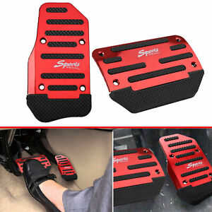 Universal Racing Sports Non Slip Automatic Car Gas Brake Pedals Pad Cover Red