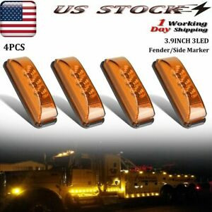 4 X Amber Led Marker Lights 3 9 clearance Light For Truck Boat Trailer Side Usa