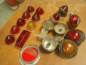 Vintage Beehive Rat Rod Bullet Tail Light Assemblies Red Glass Lenses Lens Lot