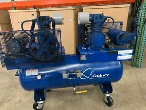 Duplex Quincy Qt 5 Piston Two Stage Air Compressor With 120 Gallon Air Tank
