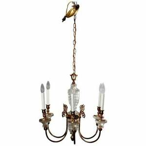 Antique French Bronze Crystal 6 Light Chandelier Circa 1930