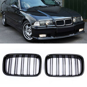 Front Kidney Grille Grill Gloss Black For Bmw E36 318is 325i M3 Coupe 1992 1997