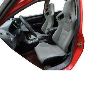1 Pair Reclinable Tan Brown Racing Seats W 2 Sliders Sport Bucket Leather 2 Seat