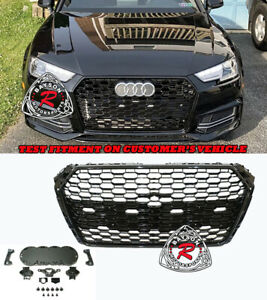 Rs4 style Badgeless Honeycomb Front Grille gloss Black Fit 17 19 Audi A4 S4 B9