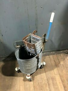 Vintage White Galvanized Mopping Bucket Mop Wringer Cleaning Janitorial Supply