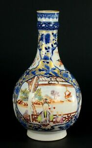 Antique Qianlong 1735 1796 Period Fine Porcelain Mandarin Ware Bottle Vase