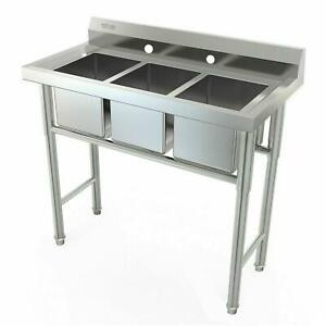 39 Wide 3 Compartment Stainless Steel Commercial Bar Kitchen Sink Large Bowl
