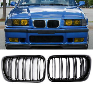 Front Bumper Grills For Bmw 3 Series E36 318i 328i 323i 96 99 Grill Gloss Black