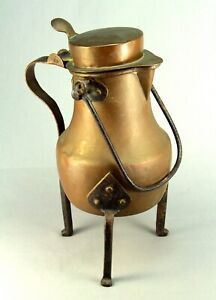 Antique Ea 1800 S Copper Wrought Iron Raised Tea Coffee Pot Kettle Teapot