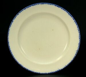Antique 18th C Leeds Marked Pearlware Plate Blue Feather Edge B