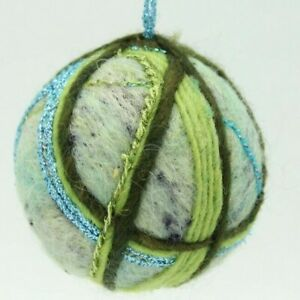 Primitive Christmas Tree Ornament Blue Green Handmade Ball Needle Felted Wool