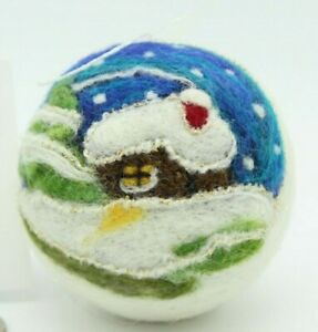 Primitive Christmas Tree Ornament Winter Cabin Handmade Ball Needle Felted Wool