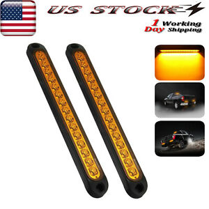 2x 10 Sealed Truck Trailer Light Bar Led Turn Signal Tail Light Strip Amber