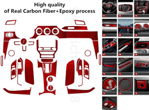 For Ford Mustang 2015 2019 Car Accessories Real Carbon Fiber Kit Frame Trim Red