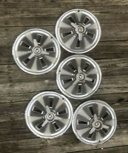 1966 Ford Mustang 14 Hub Caps W spinner Set Of 5 Hubcaps