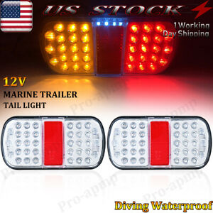1 Pair Led Submersible Oval Boat Trailer Truck Stop Turn Tail Brake Light