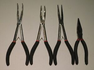 Rare Wanda Snap on Long Reach Needle Nose Spring Loaded Pliers Cutters Set Of 4