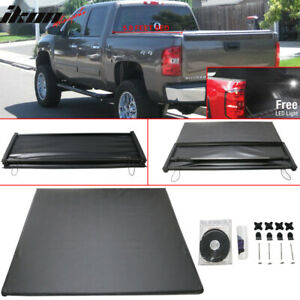 Fits 07 13 Silverado Gmc Sierra 5 8 Feet Bed Tri fold Soft Tonneau Cover Black