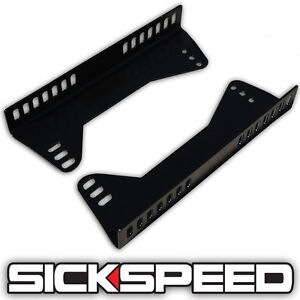 Side Mount Steel Seat Brackets For Racing Seats 90 Degree Adjustable P6 Black
