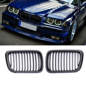 Front Hood Kidney Grill Grille For Bmw 3 Series E36 M3 96 99 Matte Black