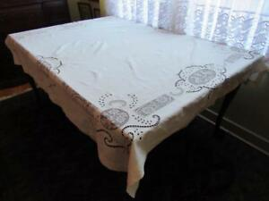 Antique Linen Tablecloth Lion Rampant Of Scotland Embroidered 72 X 63 Vintage